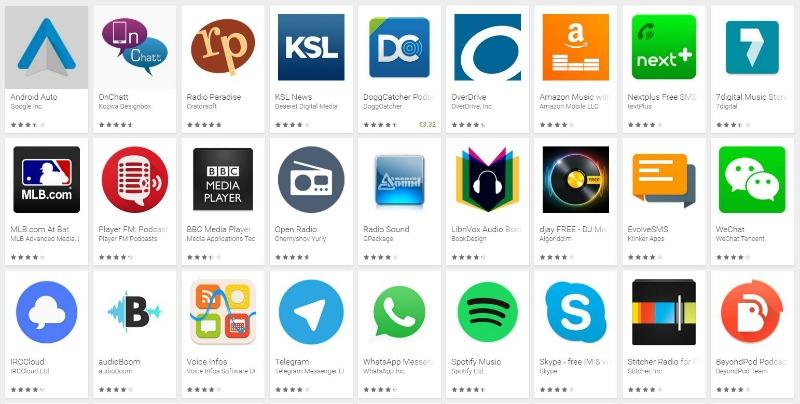 Algunas apps Android Auto
