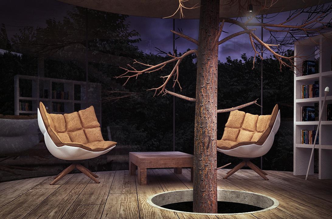 El árbol en la casa transparente