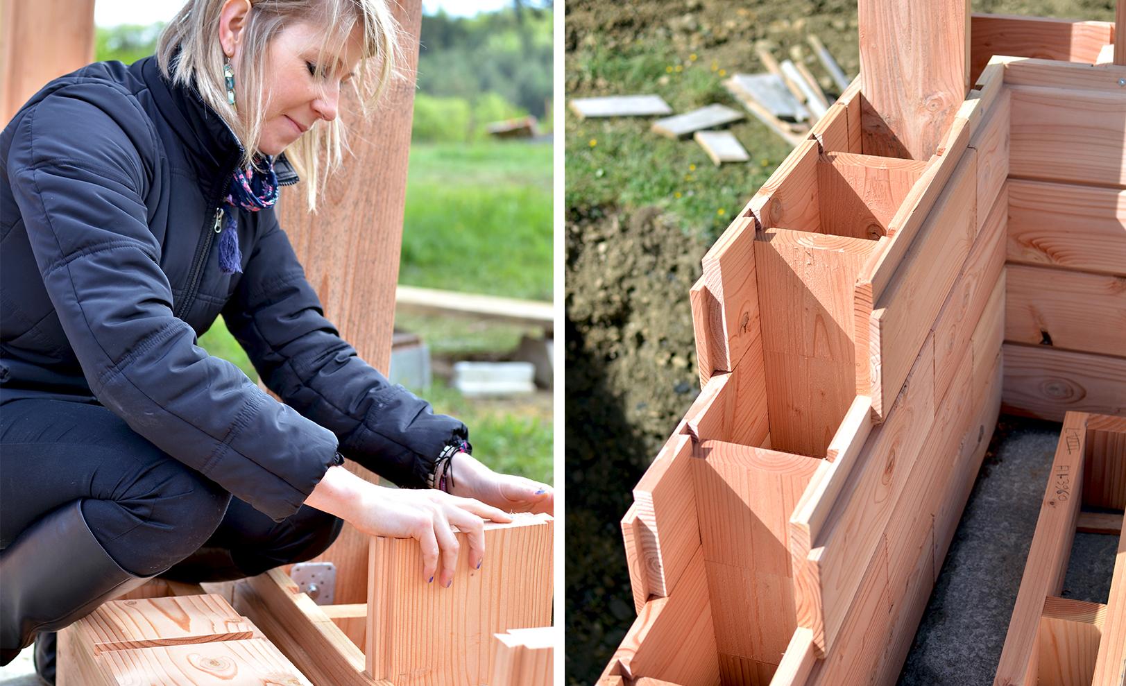 Construcción de viviendas ecológicas de madera sin adhesivos ni clavos