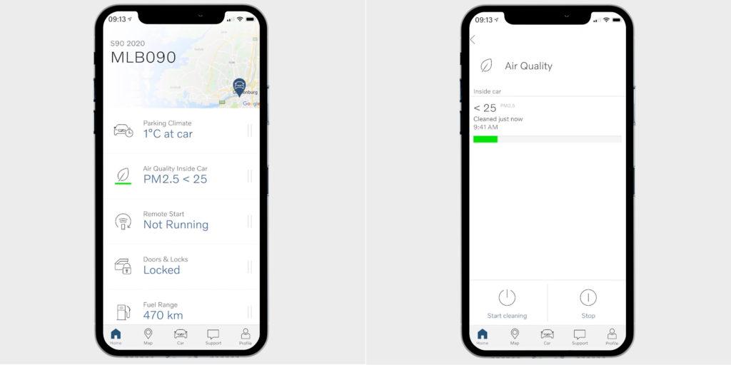 Clean Zone Multifiltro controlado desde la app Volvo OnCall