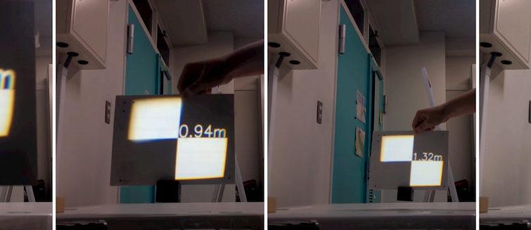 Un sistema de proyección dinámico que permanece siempre enfocado incluso sobre pantallas en movimiento